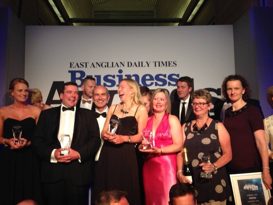 Charlie Dalton stands amongst other category winners at the EADT Business Awards 2015