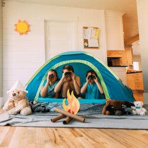 Children camping inside