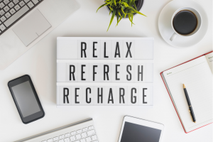 Graphic display of the words 'relax refresh and recharge'
