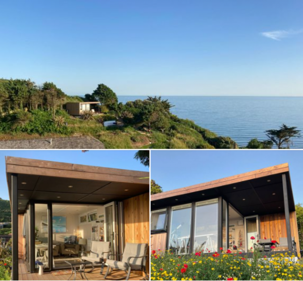 Collage of Garden office by the sea.