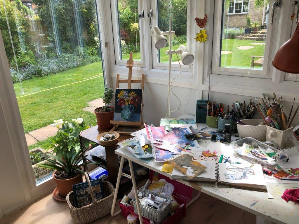 Garden office being used as an arts and crafts room